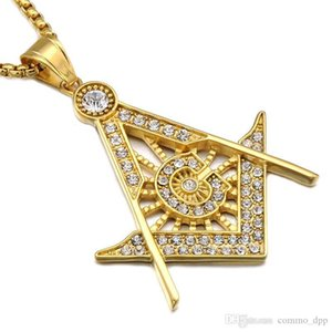 Stainless Steel Masonic Symbol Necklaces Men S Micro Pave Rhinestone Pendant Gold & Silver Plated Titanium Chains For Women Punk Jewelry