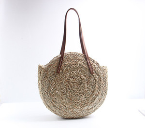 Basket Moroccan Palm 2020 Bag Circle Hand Woven Oval Fashion Straw Natural Round Beach Bag Tote Big Women Handbag Bags Onqvv