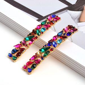 Nouveau rectangle en métal coloré strass long Boucles d'oreilles cloutés plein cristaux Accessoires Beaux bijoux pour les femmes en gros