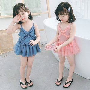 Детская одежда 2020 baby girl's two-color one-piece hat 2 girl'S 4 Swimsuit Детская одежда купальник