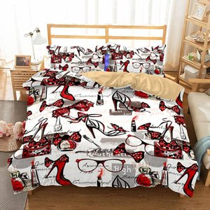 BEST.WENSD Duvet Cover Pillowcase Girl Women Bed Set Home Textiles Bedding Full Queen King Super King Comforter Bedding Sets Red