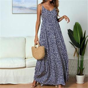 Dress Elegant Sleeveless V-neck Strap Holiday Vacation Sundress Summer Evening Party Flower Long Dress Women Boho Beach Summer Floral Maxi