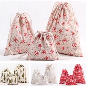Bolsa de regalo de lona Bolsa de almacenamiento de copos de nieve de renos navideños Bolsas de cordón con cordón Paquete de té de dulces de Navidad Decoraciones de envoltura de regalo XD19952