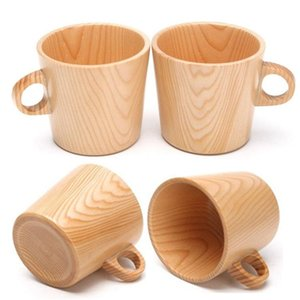 Wooden Drinking Cup Coffee Tea Beer Juice Milk cups anti-scalding single ear water Mug T9I00277