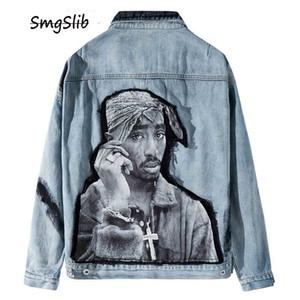 2020 Hip Hop Rep Rapçi 2PAC Tupac Shakur Patchwork Tie Dye Denim Ceket Kalça Eğlence Kot Jean Coat Streetwear Kabanlar T200502 Hop