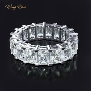 Wong Rain 100% 925 Sterling Silver Created Moissanite Gemstone Wedding Engagement Cocktail Women Ring Fine Jewelry Wholesale