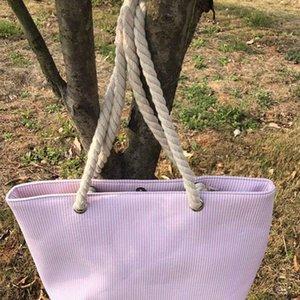 Seersucker Shopping Tote Bag Damen Seersucker Rope Handtasche Rope Beach Handtasche Lady Large Stripe Einkaufstasche alle kostenlos