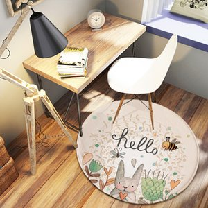 1 PCS 80CM Cute Hand-Painted Super Soft Round Coral Fleece Rabbit Carpet Bedroom Mat Home Decor