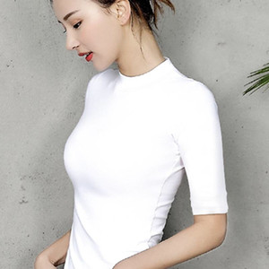 Хлопок Женская футболка O-образным вырезом с коротким рукавом женская рубашка Все матч Леди топ черный белый серый желтый Шир T200421