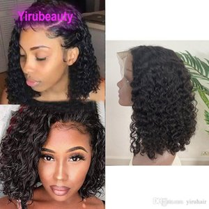 H Brazilian Virgin Hair Water Wave 13x4 Lace Front Bob Wig Human Hair Natural Color Water Wave Curly 10 -16inch