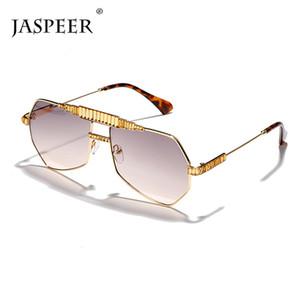 JASPEER Retro lunettes de soleil surdimensionnées Hommes Steampunk Hommes polygonaux Lunettes de soleil en métal femmes Oversize avec des diamants UV400