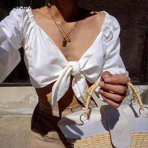 SINRGAN Sexy col v femmes d'été crop top élégant chemise à manches longues noeud modis chemise femme mode blanc 2019 dames tops casual