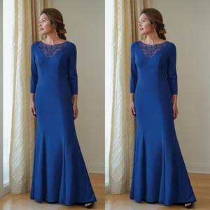 2019 Jasmine Jumpsuits Vestidos para madre de la novia Scoop Neck Vestidos de noche de manga larga Vestidos de boda Invitado Vestidos de madre Vestidos De Novia
