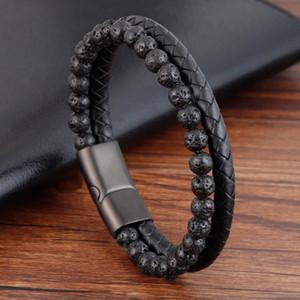 Männer Beacelets Natur Vulkan Stein Leder Magnetverschluss Rind Geflochtene Trendy Armband Armband Armband Hombre Dropshipping