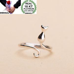 OMHXZJ Оптовая европейская мода женщина девушка свадебный подарок простой милый кот открыть 18-каратного белого золота кольцо RR695
