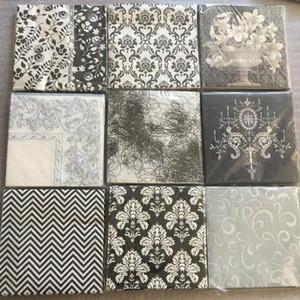 20 serviettes cru papier tissu decoupage serviette fleur blanche noir fête d'anniversaire de mariage décoration de l'hôtel maison Guardanapo serviettes de table