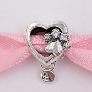 Authentique perles d'argent sterling 925 sparkling patte d'impression Heart Charm Charms Convient aux bracelets de bijoux de style pandora européen 798873
