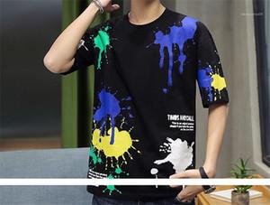 Top Lettera Mens estate e motivo stampato maglietta girocollo lunghezza normale T manica corta casuale