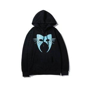 19 Blue Cat Face Mask печати Толстовки женщин людей сплошного цвета с капюшоном Sweatershirts Повседневный Роскошная марка пуловер Топ B101751V Качество