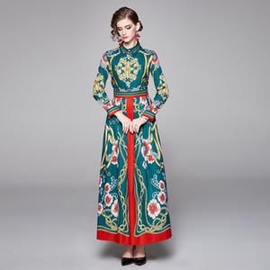 Slim Posizionamento stampato maxi vestito a maniche lunghe femminile elegante alla moda Runway Abiti Vestiti Donne Vintage Tutto-fiammifero