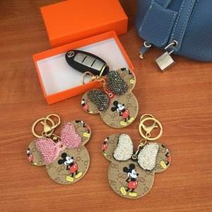 Rhinestone Luxo Designer Keychain Animal Print Bow PU saco de couro pingente de Meninas Car Chaveiro Titular Moda Cadeia Mulheres Key Anel bonito