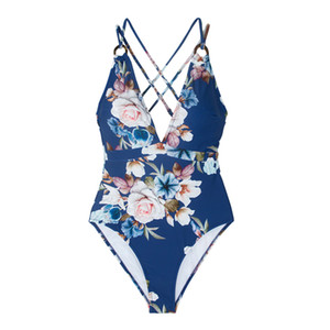 Azul Strappy Floral de uma peça só Swimsuit Mulheres Sexy Entrecruzamento Monokini Swimwear 2020 Suits menina praia de banho