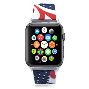 Vintage Flag Soft Silicone Strap Sports Wrist Strap for Apple Watch 5 4 3 2 1 Metal Buckle Band for iWatch Series 38 40 42 44mm