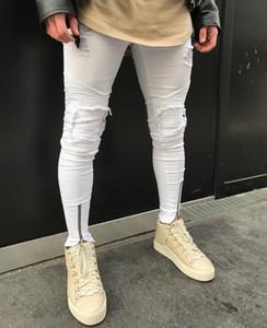 Mens bianco Jeans Folds Hole disegno della chiusura lampo elastiche lavati pantaloni Retro High Street Fashion denim strappati, pantaloni Distressed Moto