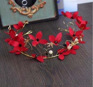 Корейская невеста тиара Красный жемчуг цветок оголовье тиара свадьба свадебное платье аксессуары для волос с аксессуарами