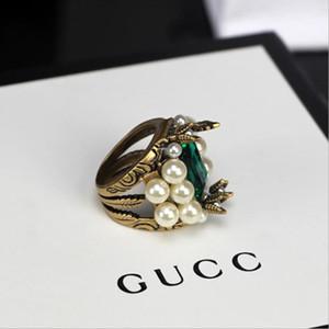 Мода женщин кольцо с жемчужиной камень ретро кольцо Brass Antique Золотое кольцо