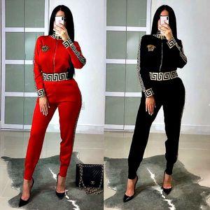 14L5115 femmes concepteur de Survêtement sporstwear tenues à manches longues Legging deux sweat-shirt set pièce collants pantalon de costume sport manteau