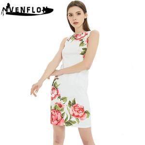 Venflon Sleeveless Sommer-Kleid-Frauen 2019 beiläufig plus Größen-Druck-Partei-Kleid weibliches eleganten reizvollen dünnes Büro Weiß 3XL