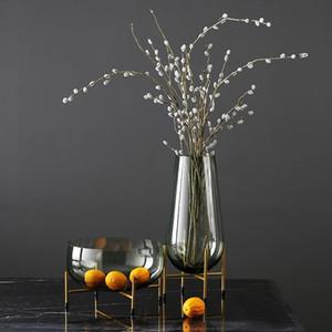 100% nuovo e lussuoso per la casa d'arte Vaso di fiori Vasi Ornaments trasparente cesto di frutta con Metal Shelf Piante supporto di vetro Container
