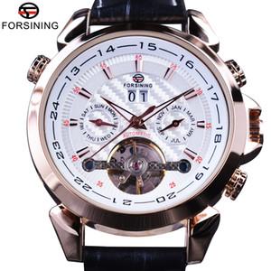 Forsining 2017 Swallow Gird Weave Dial Rose d'or étui en cuir véritable Horloge Montres Hommes Top Marque Luxe Montres Automatiques