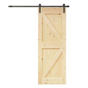 K- الإطار الطبيعي الصلبة عقدة الصنوبر الخشب انزلاق باب الحظيرة لوح الباب الداخلية لوحة الباب الخشب ، جاهز للرسم ، الأخدود غير مطلوب (لم تنته)