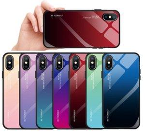 Cubierta protectora del espejo colorido de cristal templado Funda trasera para iPhone Xs Max Xr Samsung S10 S10 más