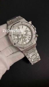 YENİ Kuvars Vk hareketi Çok fonksiyonlu kronograf Yüksek kaliteli buzlu gümüş paslanmaz çelik erkek tasarımcı Çok Renkli kadranı saatler