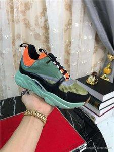 2019DR HOMME B22 Kaki Arancione tecnico Knit in pelle di vitello Trainer Sneakers con la scatola originale