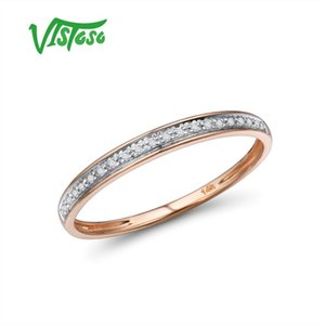 VISTOSO Genuine 14K White Yellow Rose Gold Rings For Lady Shiny Diamond Engagement Anniversary Simple Style Eternal Fine Jewelry MX200528