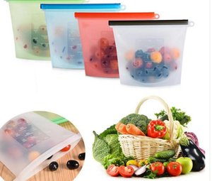 Silicone alimentos frescos Bolsas Wraps Frigorífico alimentar saco Frigorífico Bag Cozinha Colorido sacos zip Vacuum Multifuncional recipientes de armazenamento LSK96