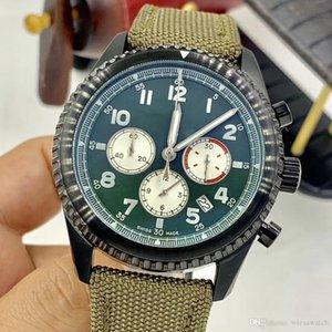 1884 Curtiss Warhawk 46MM para hombre de los relojes de cuarzo Limited segundos cronómetro manos luminosas reloj Caqui Banda legible Verde Dial de pulsera