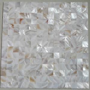 Бесшовные Белый квадрат Shell Мозаика Плитка Oyster Groutless перламутр Кухня щитка Душ Ванна плитка