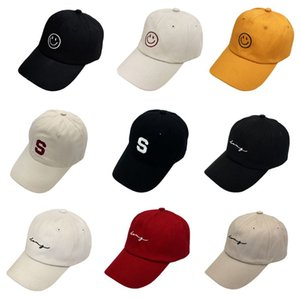 New Couples Summer Hip Hop Sports Baseball Cap Smile Face Letters Embroidered Adjustable Student Cotton Snapback Peaked Hat