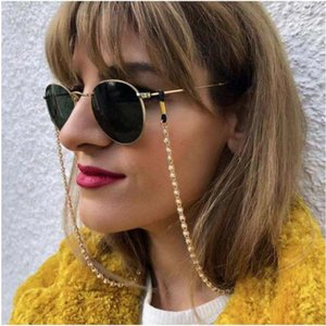 Eyeglasses chain white plastic pearl charm inside middle metal chain gold color plated silicone loops sunglass accessory