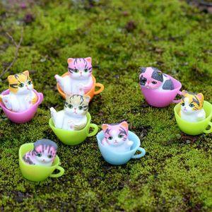 12 PC / Los Miniatur-Terrarien-Fee Garten dekorative Harz Katze Figurine Fertigkeit-Geschenk Ornament Terrarium Zubehör