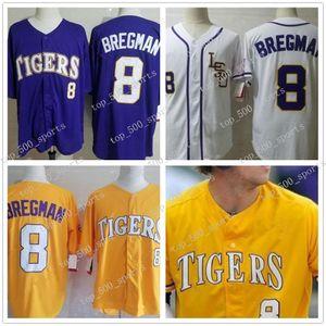LSU Тигры колледжа бейсбол 8 Алекс Бергман Все прошитой Бейсбол Трикотажные изделия S-3XL Фиолетовый Желтый Белый освобождает перевозку груза 10 Аарон Нола 5 Аарон Хилл
