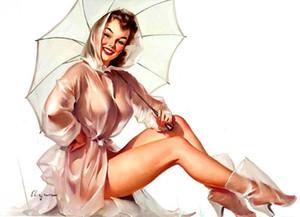 Винтаж пинап девушки Хиль ELVGREN дождевик зонтик домашнего декора расписанную HD печати живопись маслом на холсте стены искусства холст картины 191118