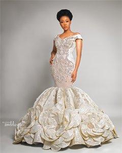 Vintage Schulterfrei Kristall Perlen Meerjungfrau Brautkleid Elegant Satin Sweep Zug Plus Szie 3D Blumen Brautkleid