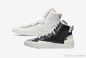 2020 Sacai X mi mens womans blanc noir gris bleu Designers doubles langues Top Joker Chaussures de chaussures de sport occasionnels