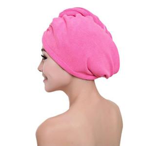 Mujeres duradero de microfibra absorbente de secado rápido Wrap sombreros Easy Clean Soft transpirable turbante Toallas de pelo cosméticos de maquillaje Caps DH1061 T03